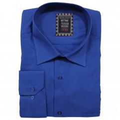 Camasa maneca lunga albastra cobalt uni - XXLBigSize