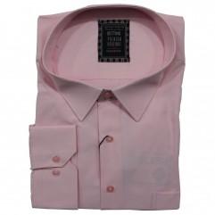 Camasa maneca lunga roz uni 2XL-10XL