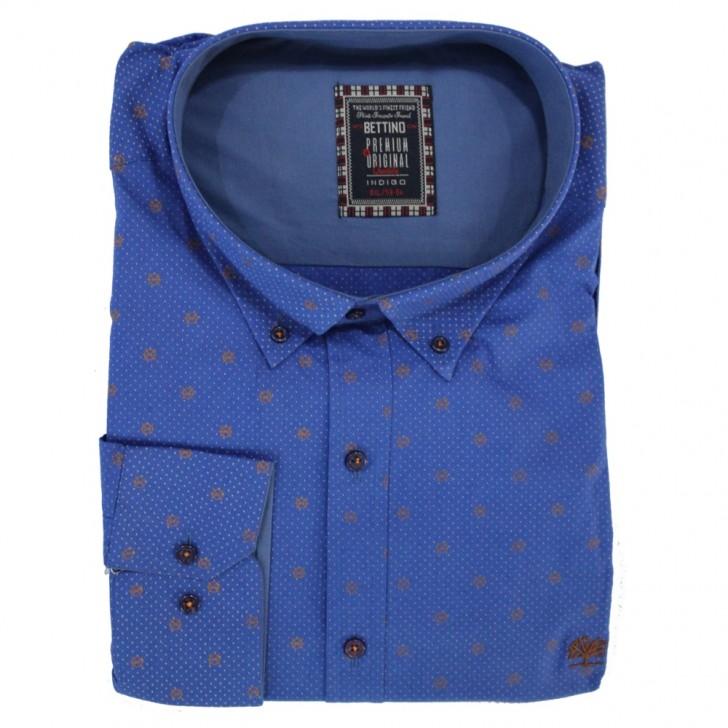 Camasa maneca lunga albastra cu imprimeu - XXLBigSize