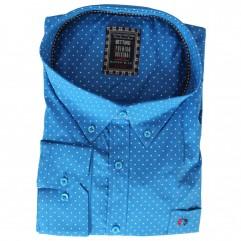 Camasa maneca lunga albastra cu imprimeu
