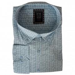 Camasa maneca lunga bleu cu imprimeu