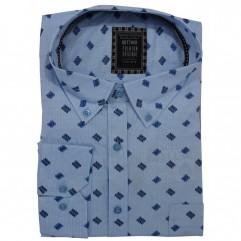 Camasa maneca lunga, bleu cu imprimeu