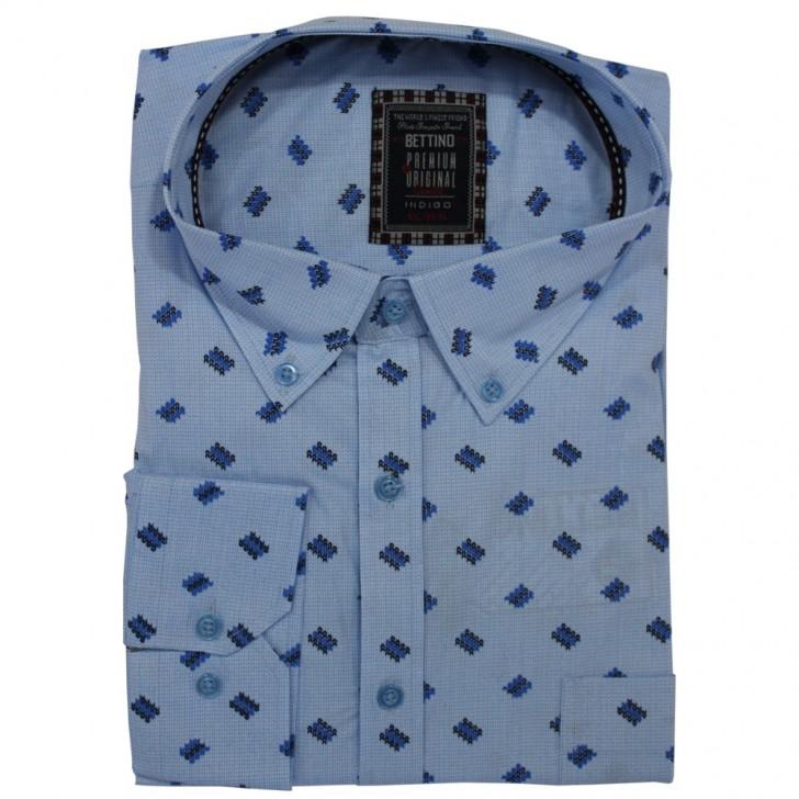Camasa maneca lunga, bleu cu imprimeu 2XL-10XL