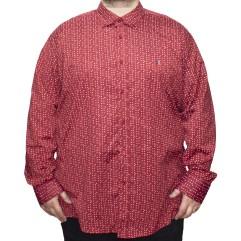 Camasa maneca lunga rosie cu imprimeu 2XL-10XL