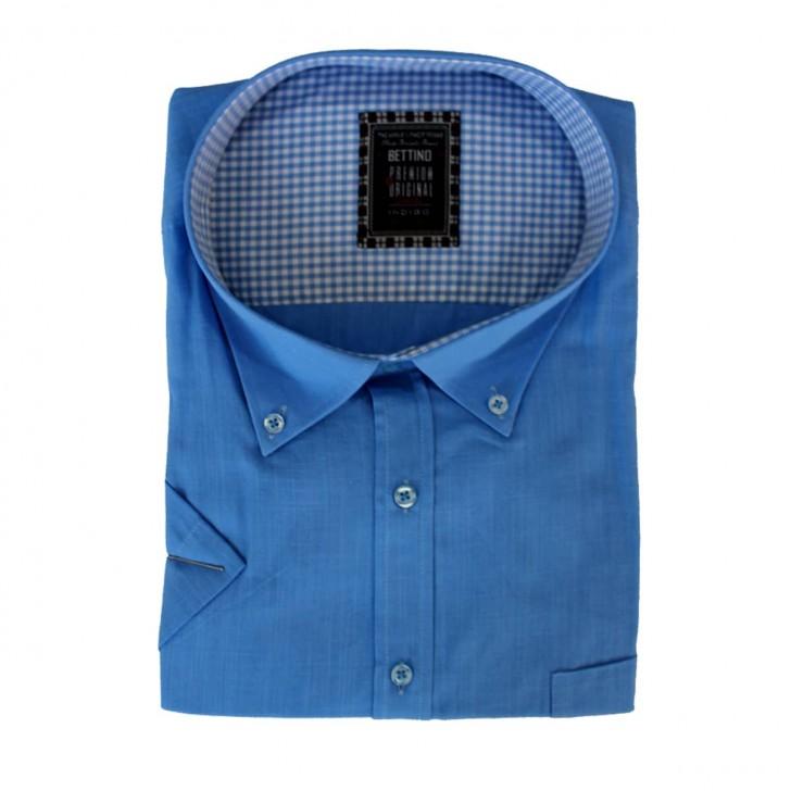 Camasa maneca scurta albastra uni - XXLBigSize