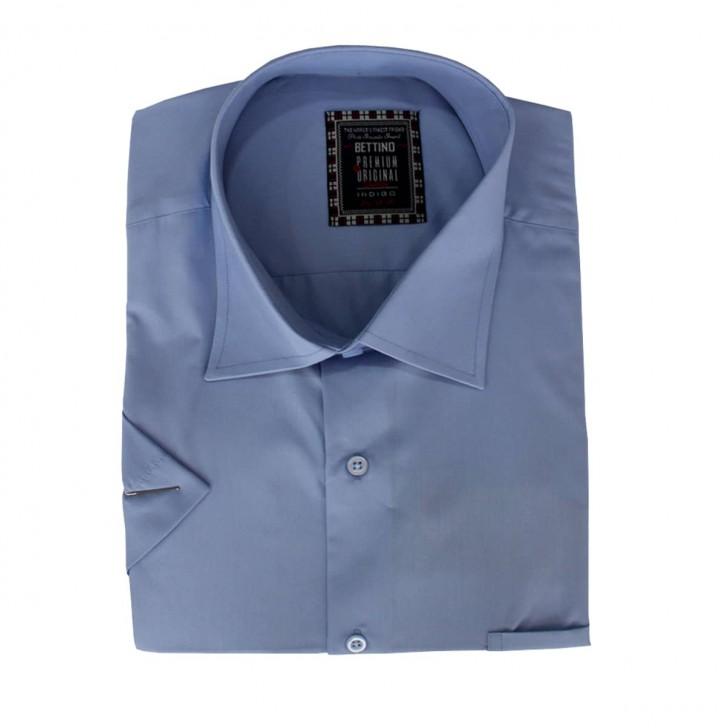Camasa maneca scurta albastru deschis uni - XXLBigSize