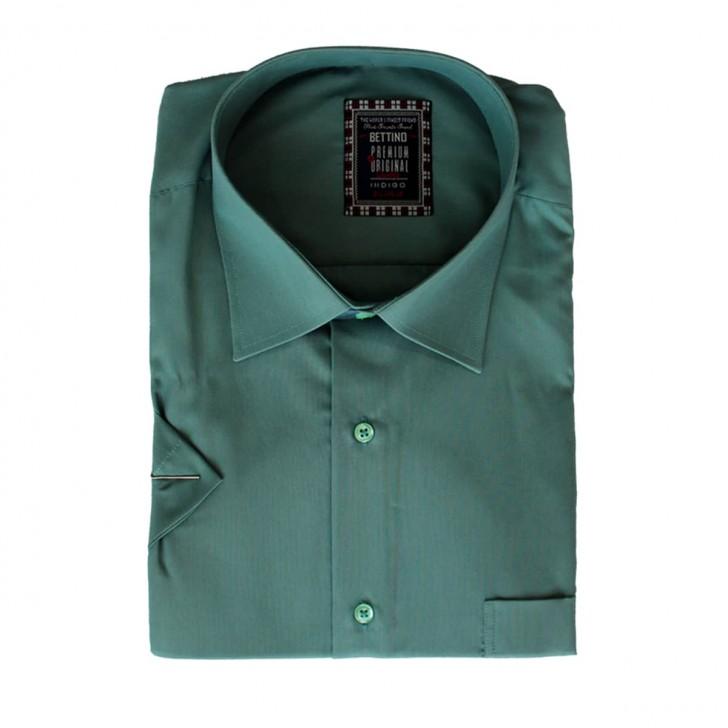 Camasa maneca scurta verde-pal uni - XXLBigSize