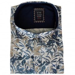 Camasa alba cu imprimeu albastru-maro