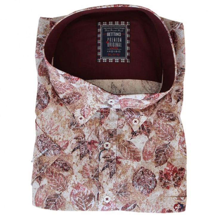 Camasa alba cu imprimeu floral maro 2XL-10XL