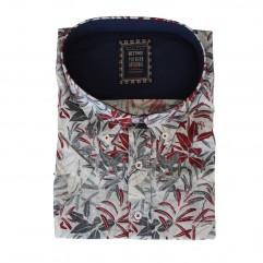 Camasa alba cu imprimeu rosu-gri 2XL-10XL