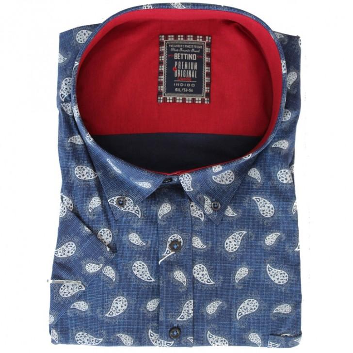 Camasa albastra cu imprimeu alb 2XL-10XL