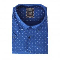 Camasa albastra cu imprimeu alb-portocaliu 2XL-10XL