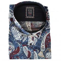 Camasa albastra cu imprimeu alb-rosu