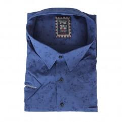 Camasa albastra cu imprimeu bleumarin