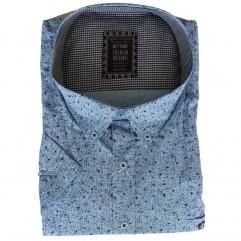 Camasa albastra cu imprimeu punctat rosu bleumarin