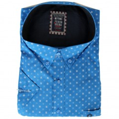 Camasa albastra cu patratele alb-bleu 2XL-10XL