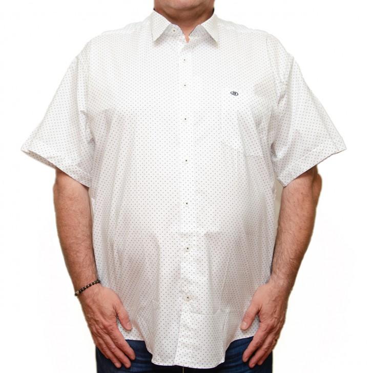 Camasa maneca scurta alba cu imprimeu - XXLBigSize