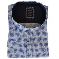 Camasa maneca scurta alba cu imprimeu albastru