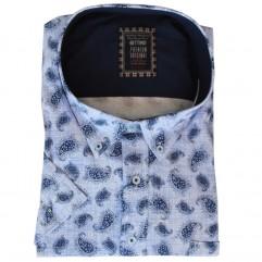 Camasa maneca scurta alba cu imprimeu bleumarin