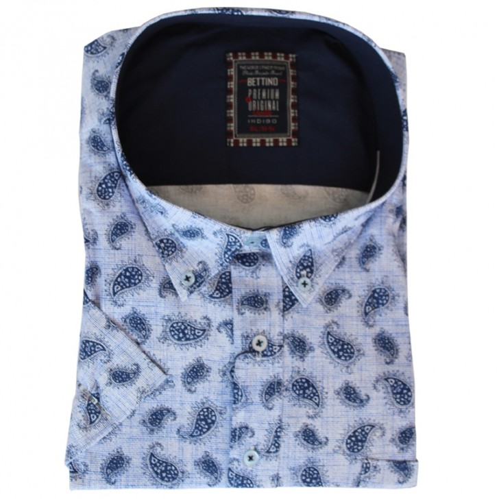 Camasa maneca scurta alba cu imprimeu bleumarin - XXLBigSize
