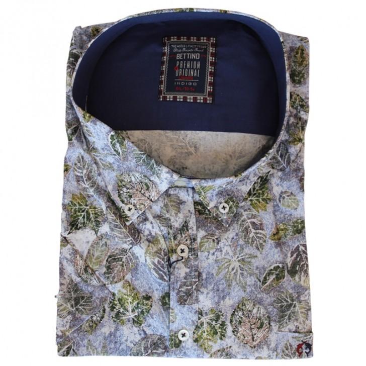 Camasa maneca scurta alba cu imprimeu floral - XXLBigSize