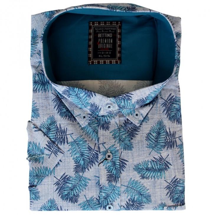 Camasa maneca scurta alba cu imprimeu floral bleumarin-turcoaz - XXLBigSize
