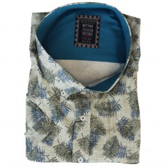 Camasa maneca  scurta alba cu imprimeu floral maro-albastru