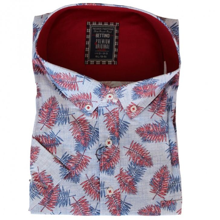 Camasa maneca scurta alba cu imprimeu floral rosu-albastru - XXLBigSize