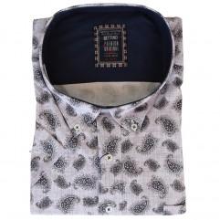 Camasa maneca scurta alba cu imprimeu gri-albastru - XXLBigSize