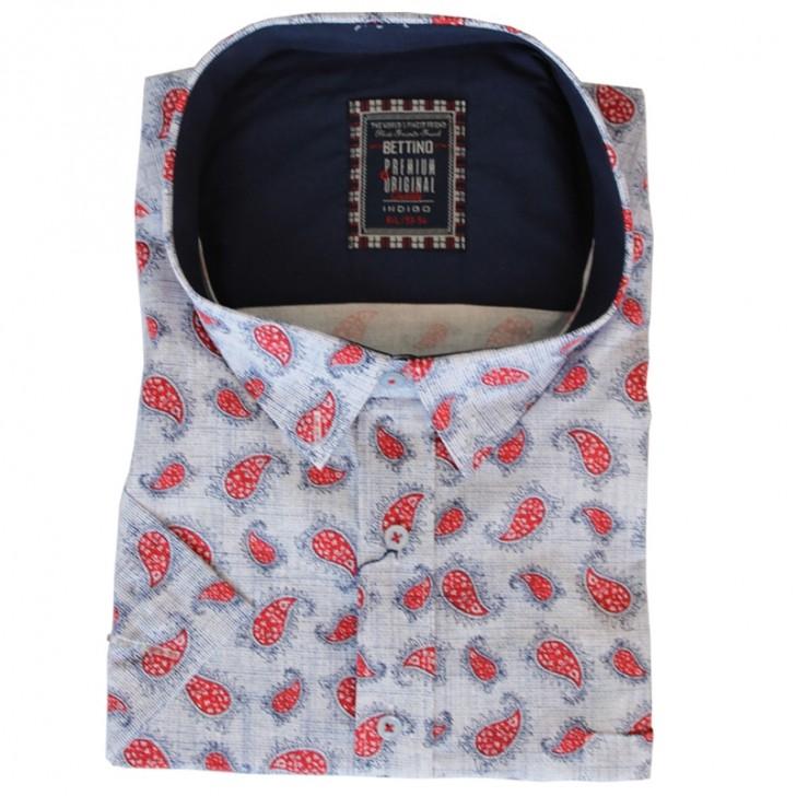 Camasa maneca scurta alba cu imprimeu rosu-albastru - XXLBigSize