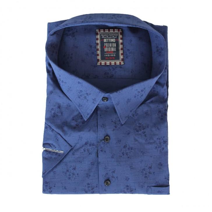 Camasa maneca scurta albastra cu imprimeu bleumarin - XXLBigSize