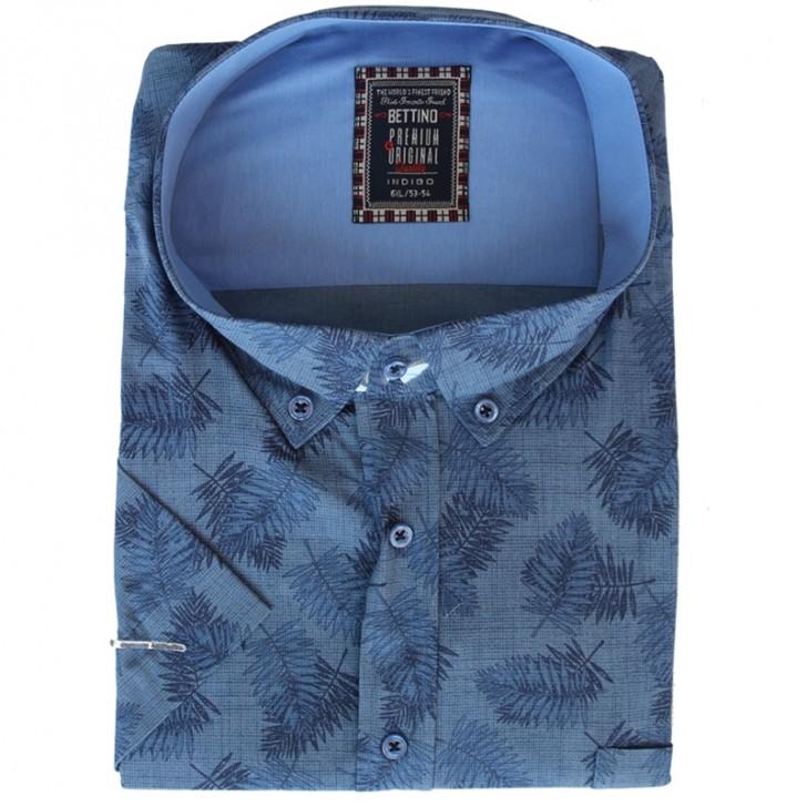 Camasa maneca scurta albastra cu imprimeu floral bleumarin - XXLBigSize