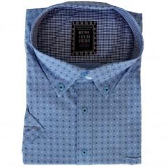 Camasa maneca scurta albastra in picouri alb-negru - XXLBigSize