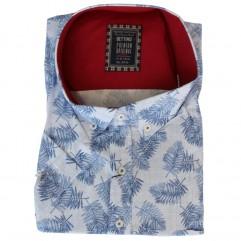 Camasa maneca scurta cu imprimeu floral alb-albastru - XXLBigSize