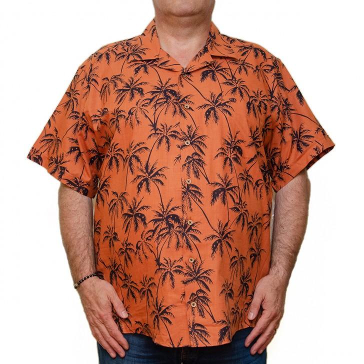 Camasa maneca scurta cu palmieri - XXLBigSize