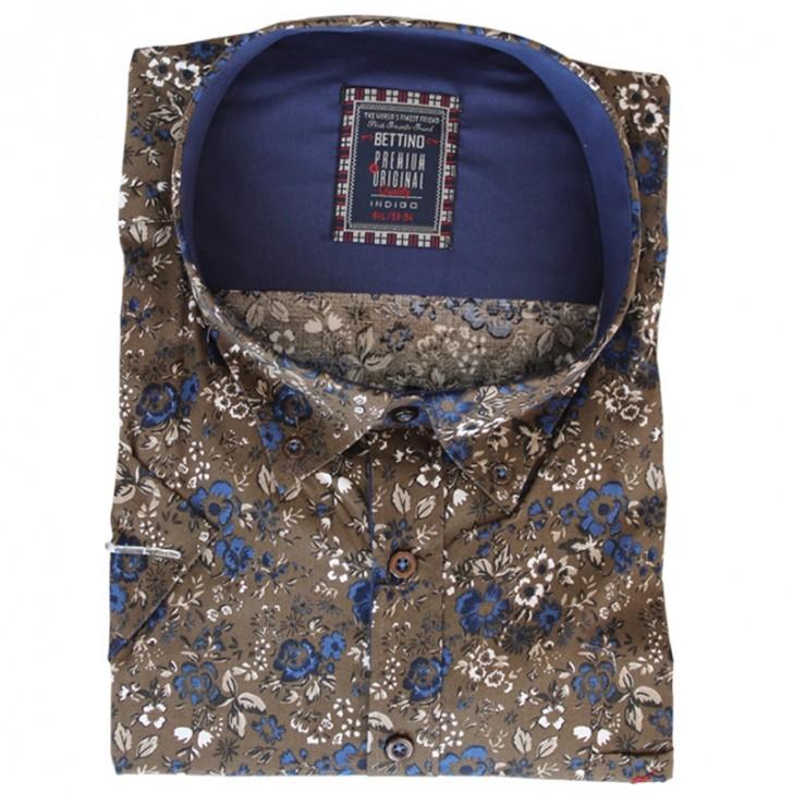 Camasa maneca scurta maro cu imprimeu floral albastru-alb - XXLBigSize