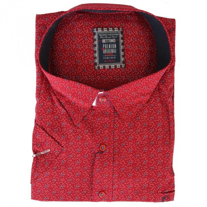 Camasa maneca scurta rosie cu picatele alb-albastru - XXLBigSize