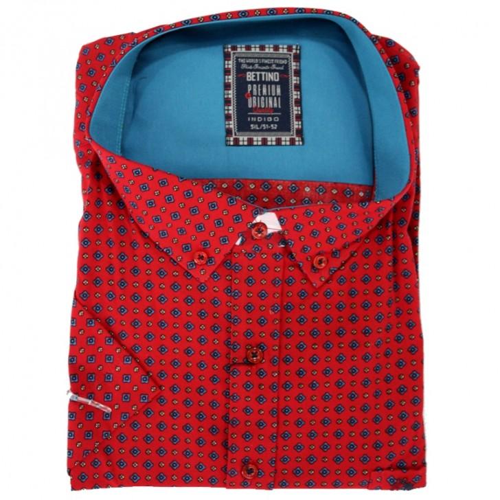 Camasa maneca scurta rosie cu romburi albastre - XXLBigSize