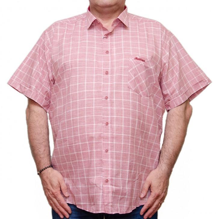 Camasa maneca scurta rosie in carouri albe - XXLBigSize