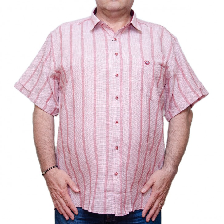 Camasa maneca scurta rosie in dungi rosii - XXLBigSize