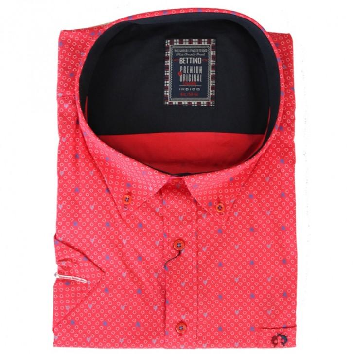 Camasa rosie cu picouri alb-albastru 2XL-10XL