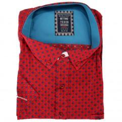 Camasa rosie cu romburi albastre 2XL-10XL