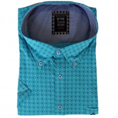 Camasa turcoaz cu imprimeu punctat alb-albastru