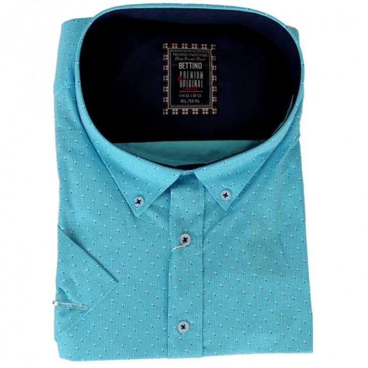 Camasa turcoaz cu picatele albastre 2XL-10XL