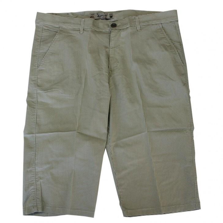Pantalon trei sferturi cu picouri alb-verde - XXLBigSize