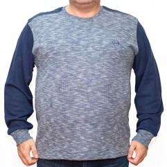 Bluza groasa albastra cu imprimeu la baza gatului