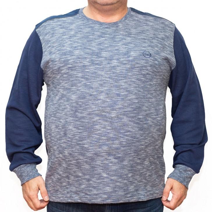 Bluza groasa albastra cu imprimeu la baza gatului 2XL-6XL