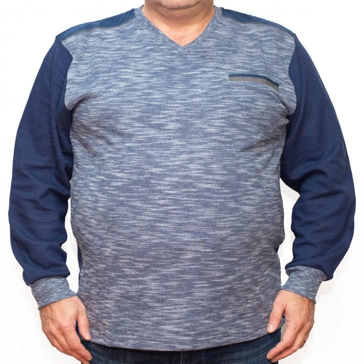 Bluza groasa albastra cu imprimeu si  anchior - XXLBigSize