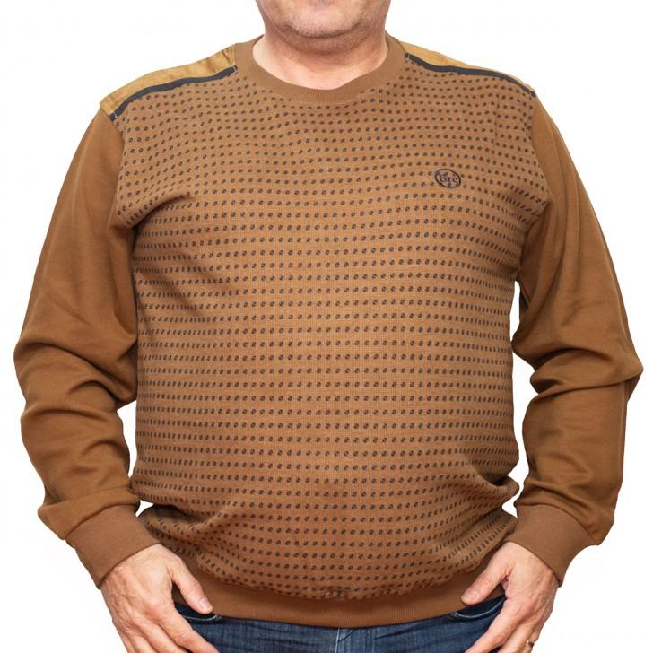 Bluza groasa maro cu imprimeu la baza gatului 2XL-6XL