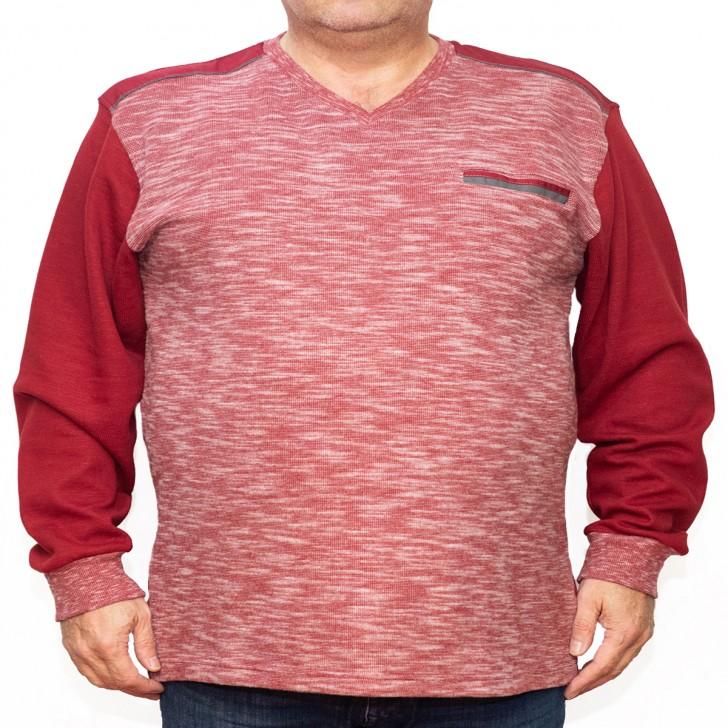Bluza groasa rosie cu imprimeu si cu anchior - XXLBigSize